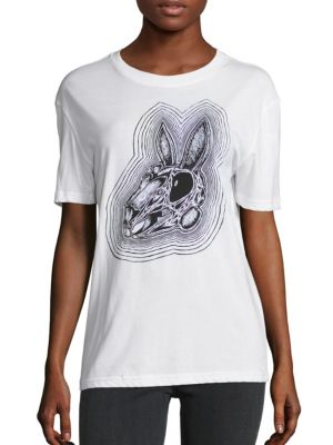 """Image of Super-soft cotton tee with graphic print at front and back. Roundneck. Dropped shoulders. Short sleeves. Pullover style. About 25"""" from shoulder to hem. Cotton. Machine wash. Imported. Model shown is 5'10"""" (177cm) wearing size Small."""