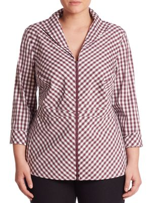 Checked Elaine Blouse by Lafayette 148 New York, Plus Size