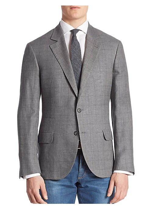 """Image of Simple plaid set in a luxe linen, wool and silk blend. Notch lapels. Front button closure. Long sleeves with button cuffs. Left chest welt pocket. Waist flap pockets. Even vented hem. About 29"""" from shoulder to hem. Wool/linen/silk. Dry clean. Made in Ita"""