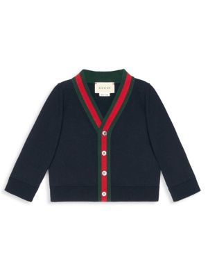 Baby's Web Trim Cotton Cardigan by Gucci