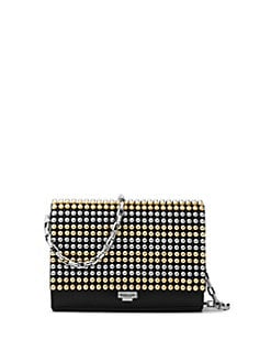 22febb02832f Michael Kors Collection Small Studded Leather Crossbody Clutch