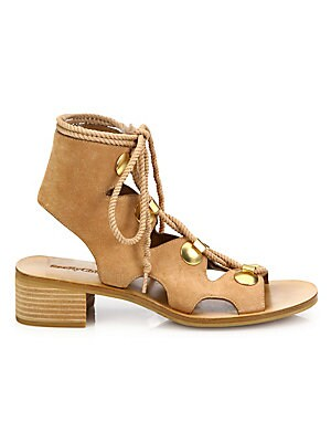 cddec6f29 See by Chloé - Edna Cutout Suede Lace-Up Sandals - saks.com