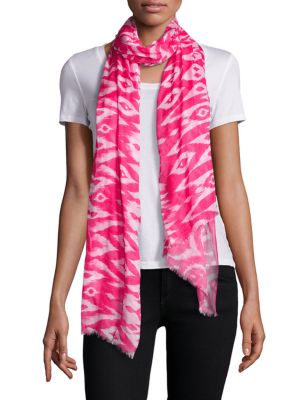 """Image of Lightweight modal scarf with vibrant ikat print.16""""W X 31""""L.Modal. Dry clean. Imported."""
