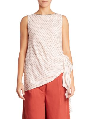 Silk Gathered Tank Top by Brunello Cucinelli