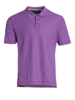 Image of Radiant relaxed polo detailed with stitching accents. Polo collar. Three-button placket. Short sleeves. Cotton. Machine wash. Imported.