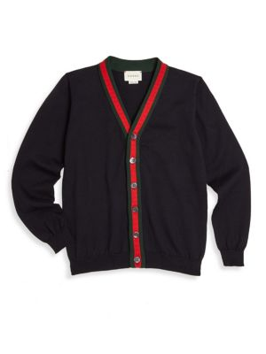 Little Boy's & Boy's Web Trim Cotton Cardigan by Gucci