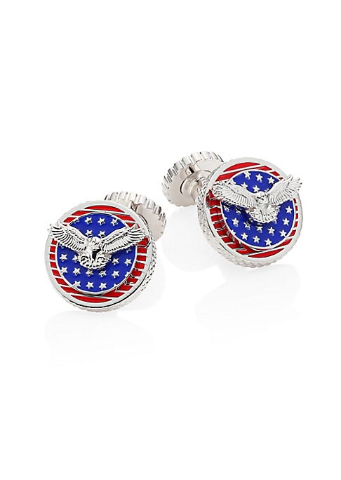 Image of Rotating flag cufflinks with eye-catching details. Rhodium-plated. Brass. Whale tail. Imported.
