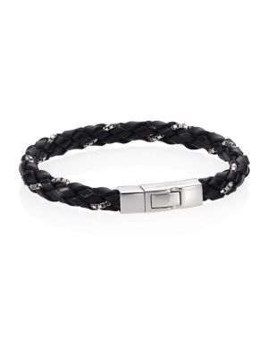 "Image of From the Click Scoubidou collection. Luxe bracelet woven with fine Italian leather. Rhodium-plated 0.925 sterling silver. Leather. Diameter, about 1.9"".Length, about 7"".Click clasp. Made in UK."