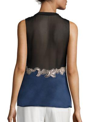 3.1 PHILLIP LIM Silks Silk Sequin Applique Top