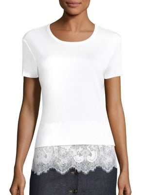 Cotton Lace Bottom Top by Carven