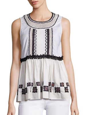 Embroidered Cotton Leaf Sleeveless Top by SUNO
