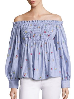 Smocked Off-the-Shoulder Top by SUNO