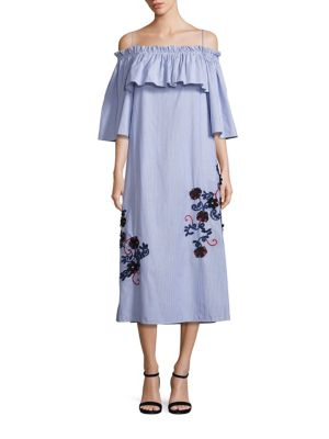 Embroidered Off-The-Shoulder Pinstriped Flare Dress by SUNO