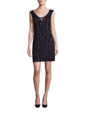 "Image of Mesh cocktail dress glistens in beads and sequins. Deep V-neckline with sheer inserts. Cap sleeves. Concealed back zip. About 32"" from shoulder to hem. Polyester. Spot clean. Imported. Model shown is 5'10"" (177cm) wearing US size 4."