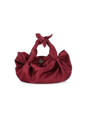 Small Ascot Satin Hobo Bag in Maroon