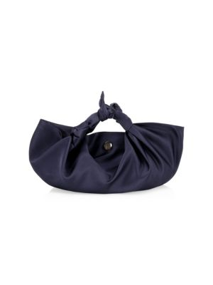 Small Ascot Satin Hobo Bag in Navy