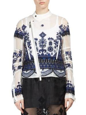 Tribal Lace Blouson Moto Jacket by Sacai
