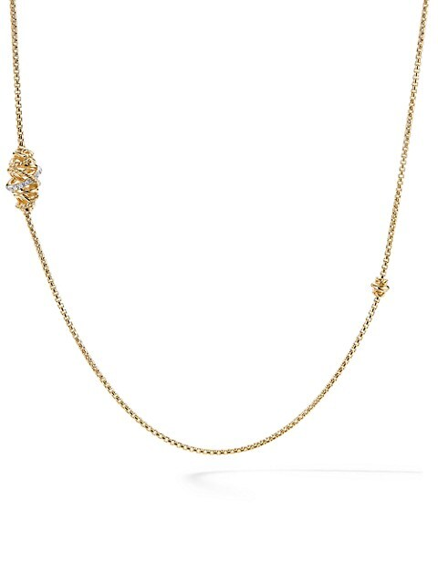 Crossover Station Necklace with Diamonds in 18K Yellow Gold