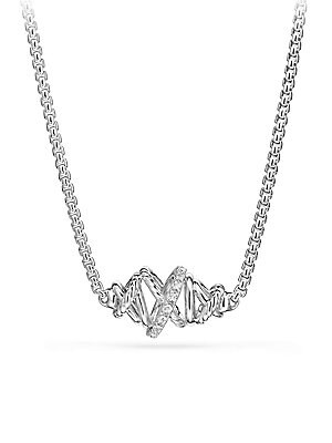 """Image of From The Crossover Collection Pave diamonds, 0.11 total carat weight Sterling silver Pendant, 20mm Adjustable chain, 16-17"""" Lobster clasp Imported. David Yurman - David Yurman Silver Ice. David Yurman. Color: Silver."""