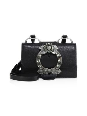Madras Crystal Embellished Leather Shoulder Bag - Ivory in Nero