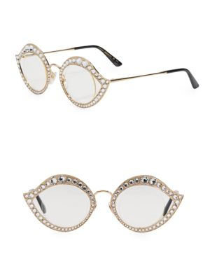 6c68c74e9fd Gucci Crystal-Studded Cat Eye Glasses In Gold