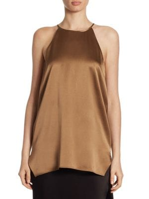 1ad812a71a225 Halston Heritage Solid Strappy Tank Top In Sable