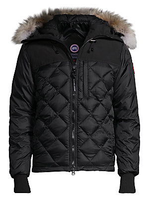 "Image of Appealing diamond quilted coat in low-waist cut Attached coyote fur lined hood Front zipper closure Napoleon pocket with zipper closure Long sleeves with ribbed cuffs Two fleece-lined handwarmer pockets About 29"" from shoulder to hem Nylon Fill: White goo"