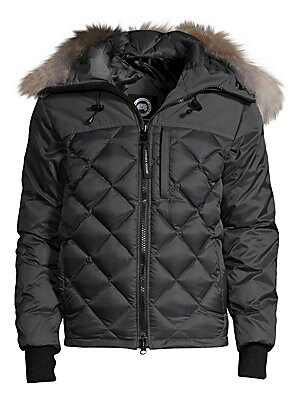 """Image of Appealing diamond quilted coat in low-waist cut Attached coyote fur lined hood Front zipper closure Napoleon pocket with zipper closure Long sleeves with ribbed cuffs Two fleece-lined handwarmer pockets About 29"""" from shoulder to hem Nylon Fill: White goo"""