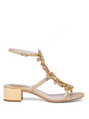 RENÉ CAOVILLA Crystals Crystal-Embellished Snakeskin T-Strap Block-Heel Sandals