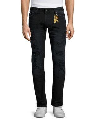 ROBIN'S JEAN Distressed Moto Skinny Jeans, Black-Blue