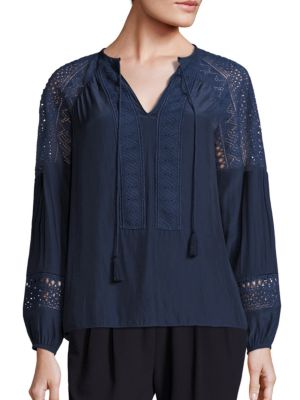 Whitney Crochet Detailed Top by Ramy Brook