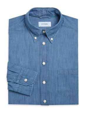 Image of Slim fit shirt designed in a breezy heathered pattern. Spread collar. Front button-down closure. Long sleeves. Buttoned cuffs. Cotton. Machine wash. Imported.