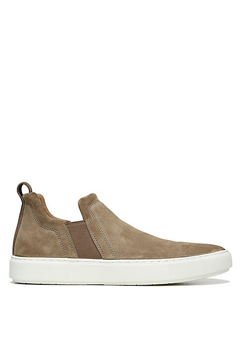 Image of Smooth suede sneakers with snug elastic gores. Suede upper. Back pull tabs. Slip-on style. Leather lining. Rubber sole. Imported.