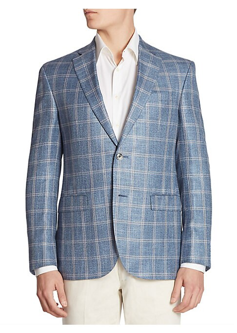 """Image of EXCLUSIVELY OURS. Neatly tailored plaid jacket rendered from a fine fabric. Notch lapels. Front button closure. Long sleeves with button cuffs. Left chest welt pocket. Front flap pockets. Even vented hem. About 29"""" from shoulder to hem. Wool/silk/linen. D"""