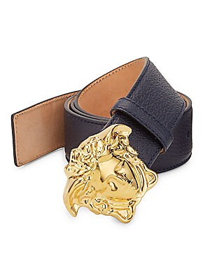"""Image of Sleek leather belt with polished Medusa buckle Width, 1.5"""" Leather Made in Italy. Men Accessories - Belts. Versace. Color: Black. Size: 105 (42)."""