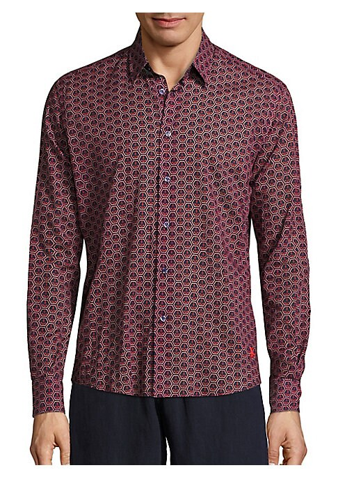 Image of Allover anchor patterns uplift this handsome shirt. Spread collar. Front button closure. Long sleeves with buttoned cuffs. Curved hem. Cotton. Machine wash. Imported.