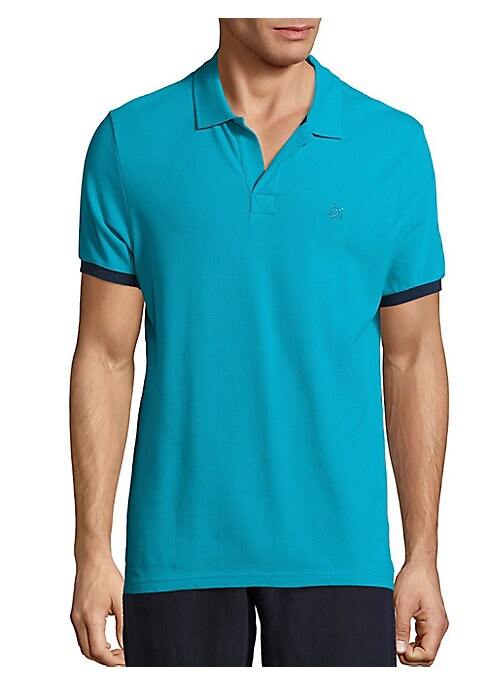 Image of Pique polo T-shirt with metallic eyelets on back. Polo collar. Concealed front closure. Short sleeves with contrasting armbands. Cotton. Machine wash. Imported.