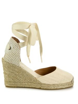 SOLUDOS Canvas Ankle-Wrap Wedge Espadrilles in Blush