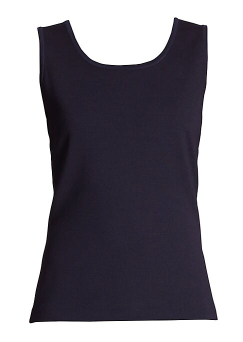 """Image of Contour tank top in wool-blend Milano. Scoopneck. Sleeveless. Pullover style. About 24"""" from shoulder to hem. Wool/rayon. Dry clean. Imported. Model shown is 5'10"""" (177cm) wearing size Small."""