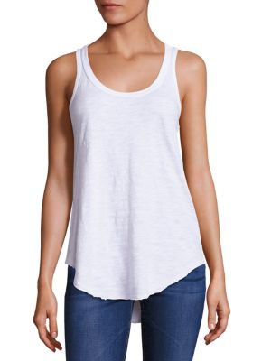 "Image of EXCLUSIVELY AT SAKS FIFTH AVENUE. Breezy cotton tank top finished with hi-lo hem. Scoopneck. Sleeveless. Hi-lo shirttail hem. Racerback. Pullover style. About 29"" from shoulder to hem at longest point. Cotton. Machine wash. Made in USA. Model shown is 5'1"