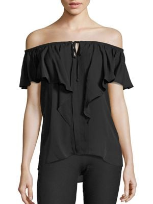 Venetta Off-The-Shoulder Silk Blouse by KOBI HALPERIN