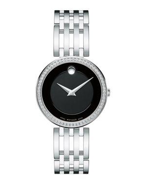 MOVADO Esperanza Diamond & Stainless Steel Bracelet Watch in Black