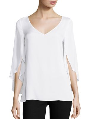 Stretch-Silk Butterfly Sleeve Blouse by MILLY
