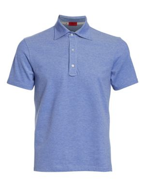 Image of Heathered polo fabricated from comfortable cotton. Polo collar. Front button placket. Short sleeves. Cotton. Dry clean. Made in Italy.