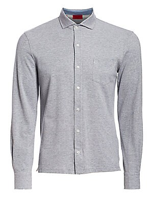 Image of Polo-style shirt crafted from supremely soft cotton Spread collar Front button closure Long sleeves Buttoned cuffs Chest patch pocket Cotton Hand wash Made in Italy. Men Luxury Coll - Isaia. Isaia. Color: Medium Grey. Size: Medium.