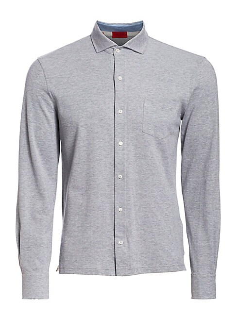 Image of Polo-style shirt crafted from supremely soft cotton. Spread collar. Front button closure. Long sleeves. Buttoned cuffs. Chest patch pocket. Cotton. Hand wash. Made in Italy.