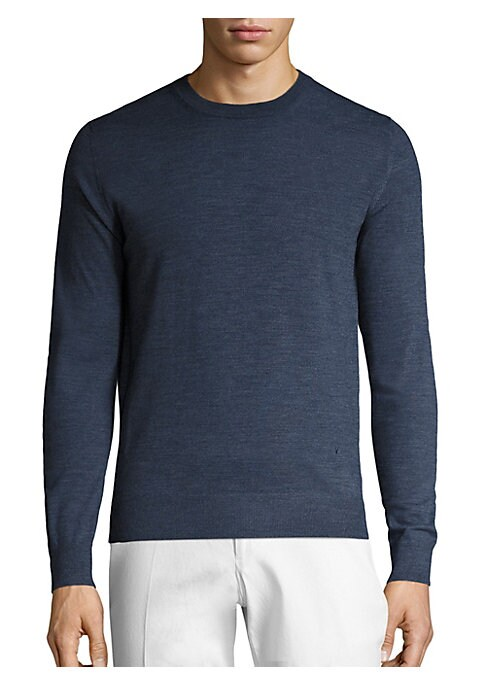 Image of Cozy wool sweater highlighted with ribbed accents. Crewneck. Long sleeves with ribbed cuffs. Pullover style. Ribbed hem. Wool. Dry clean. Made in Italy.