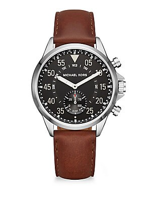 15e444e837dc Michael Kors - Michael Kors Access Gage Stainless Steel   Leather Strap  Hybrid Smart Watch - saks.com