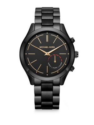 Image of From the Slim Runway Collection. Masculine bracelet smartwatch meets tracking capabilities. Android Wear™ operating system. Compatibility: Android™ OS 4.4+ or iPhone 5/iOS 8.1+.Battery Life: Up to 6 months. Included Accessories: Quick Start Gu