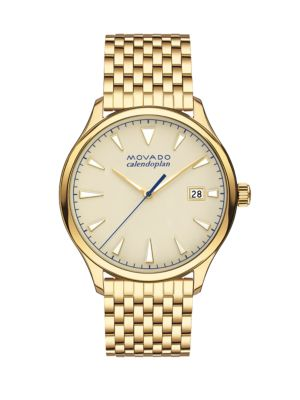 Heritage Yellow Gold Ion-Plated Stainless Steel Bracelet Watch, Gold/ Beige